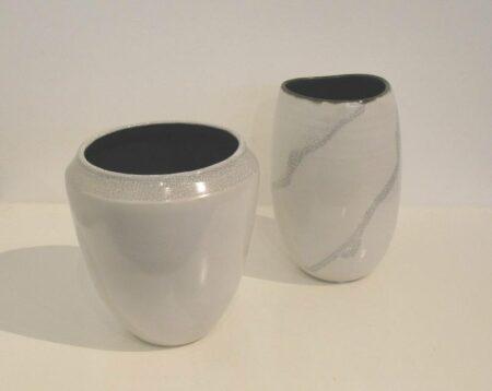 Helen Foster White Crackle Vases 160ea