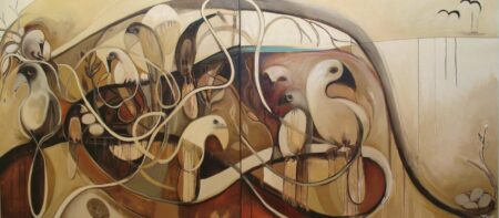 Jos Myers The Nest 2 Panels Painting