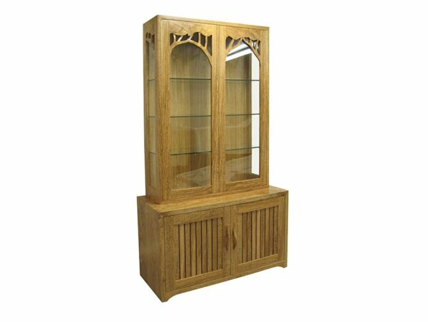 Natural Display Cabinet Featured Marri Timber Angle