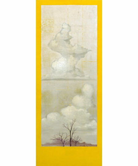 Shaun Atkinson Wallcliffe Road Yellow 165cmx65cm Oil And Silver Leaf On Canvas