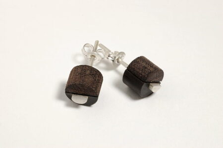 Split Circle Stud Earings By Brendon Collins Timber And Silver Image 1 75 Dpi