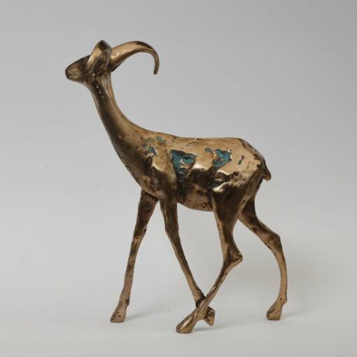 Cossy Bardwell Adventurous Buck Side Braonze Sculpture