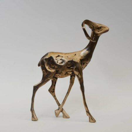 Cossy Bardwell Curious Buck Black Side Bronze Sculpture