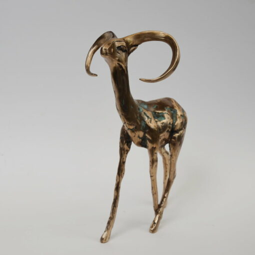 Cossy Bardwell Curious Buck Green Front Bronze Sculpture