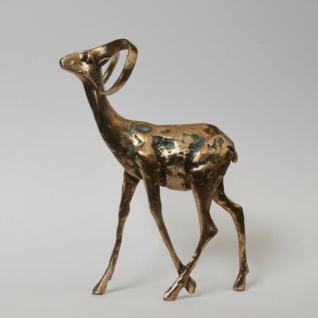 Cossy Bardwell Curious Buck Green Front Side Bronze Sculpture 1