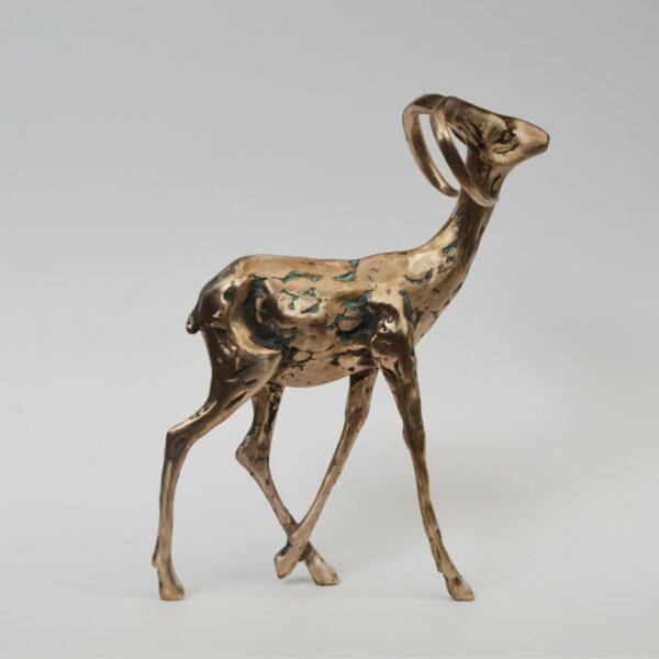 Cossy Bardwell Curious Buck Green Front Side Bronze Sculpture