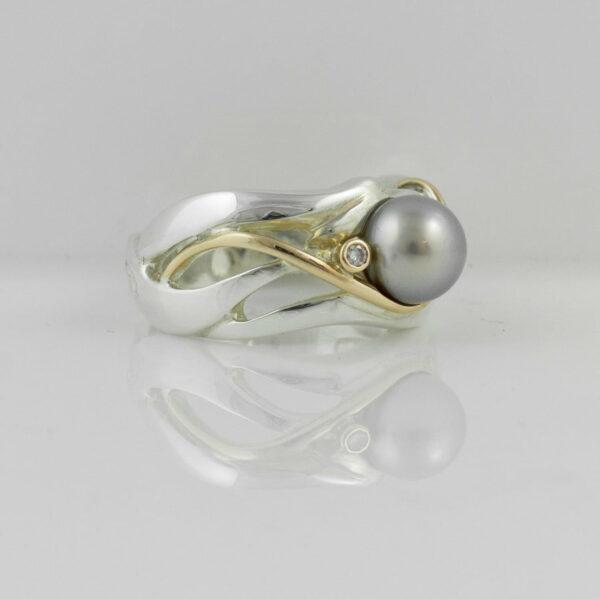 Gba Gemma Baker Abrolhos Pearl Diamond Ring Side View
