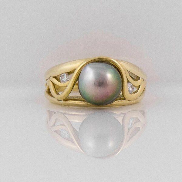 Gba Gemma Baker Gold Pearl Diamond Ring