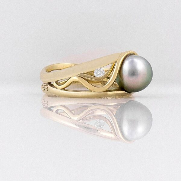 Gba Gemma Baker Gold Pearl Diamond Ring Side View