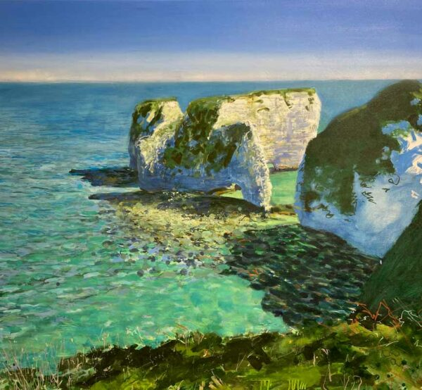 Joe Webster Blazing Sun And Bitter Wind Old Harry Rocks Painting