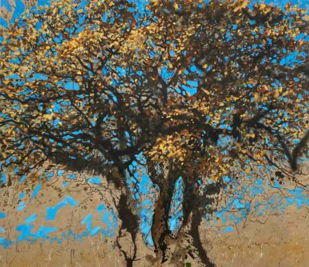 Joe Webster Mighty Oak Losing Leaves On A Bright Winter Day Painting