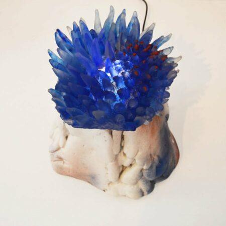 Sallie Portnoy Blue Anenome Sculpture Light On