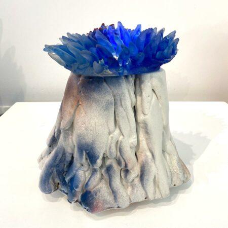 Sallie Portnoy Blue Anenome Sculpture Light On Side