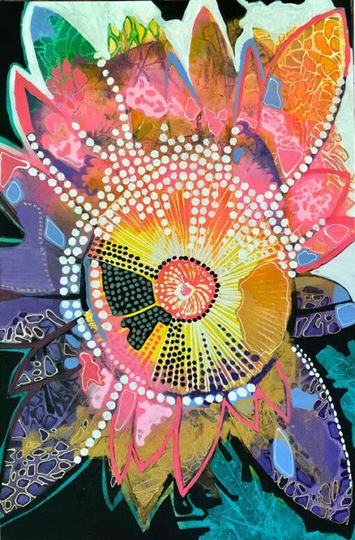 Astrid Dahl Blushing Lotus Painting