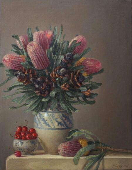Philip Drummond Banksia Cherries Oil Painting