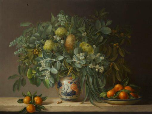 Philip Drummond Mandarins With Banksias Oil Painting