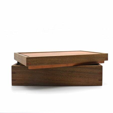 Andrew Potocnik Queensland Walnut Myrtle Wooden Box Lid Off