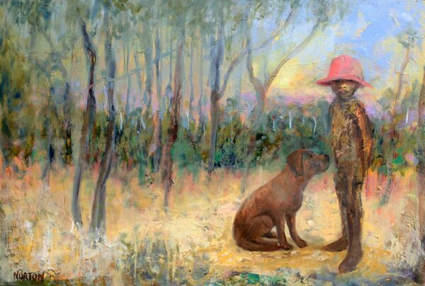 Helen Norton Boy With Pink Hat And Dog Painting