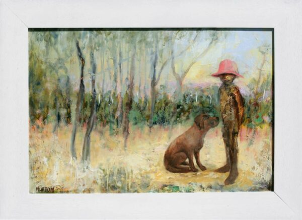 Helen Norton Boy With Pink Hat And Dog Painting Framed