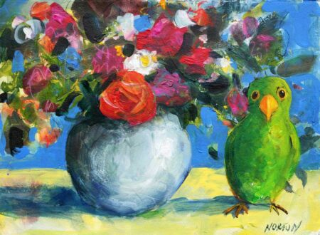 Helen Norton Green Parrot With Flower Vase Painting