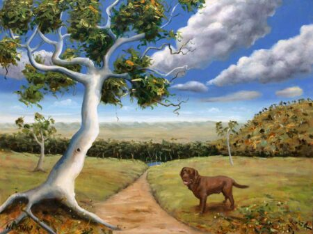 Helen Norton Landscape With Brown Dog Painting