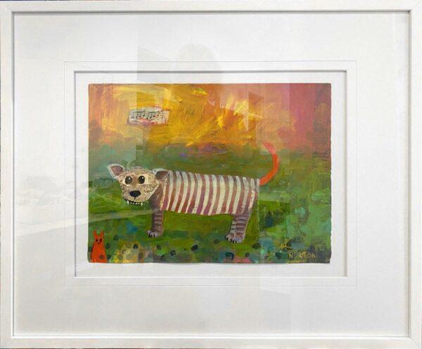 Helen Norton Singing Tiger Painting In Frame