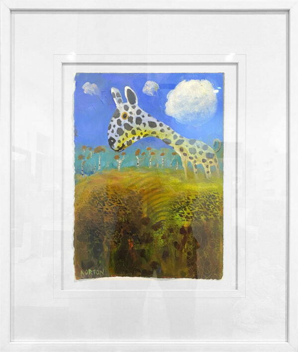 Helen Norton Spotty Dog Painting In Frame