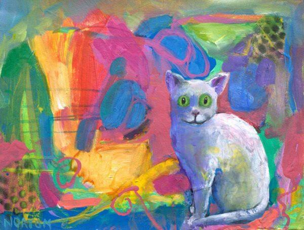 Helen Norton White Cat Painting
