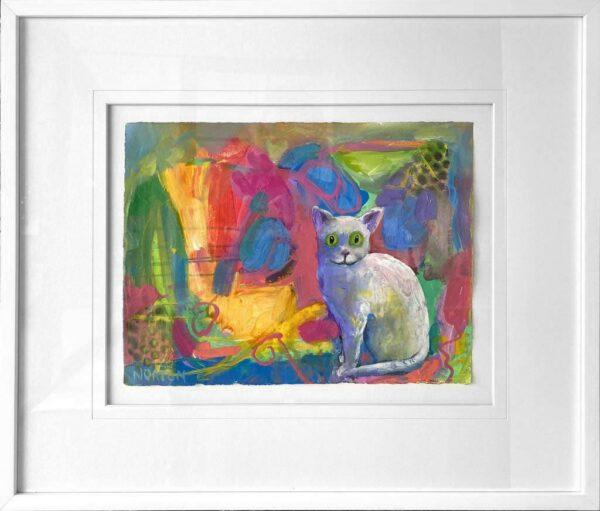 Helen Norton White Cat Painting In Frame