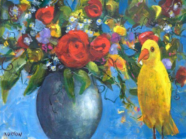 Helen Norton Yellow Bird With Flower Vase Painting