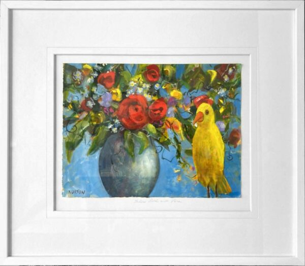 Helen Norton Yellow Bird With Flower Vase Painting In Frame