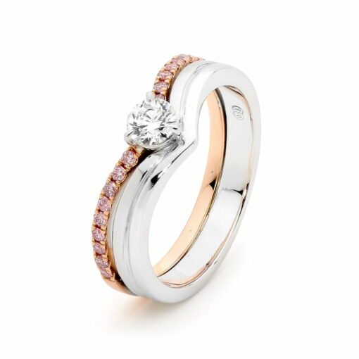 Desert Rose Delicate Curved Argyle Pink Diamond Ring