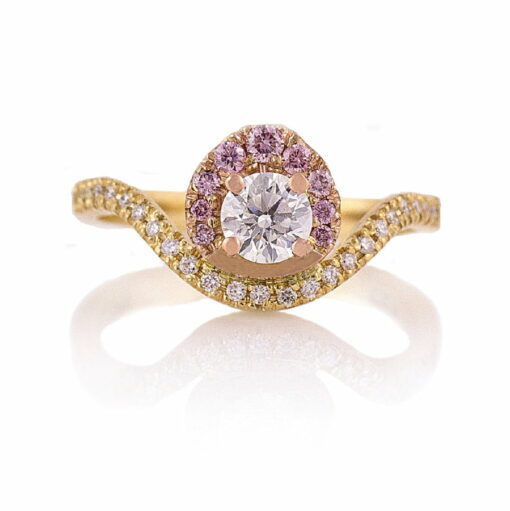 Gemma Baker Argyle Pink And White Diamond Ring