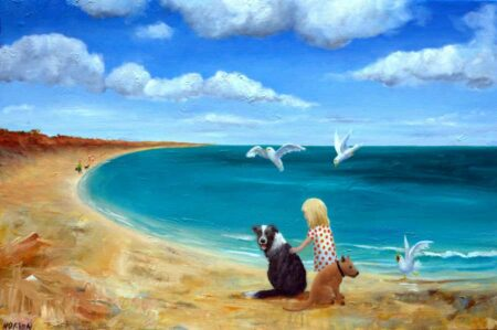 Helen Norton Girl At Beach With Two Dogs Painting