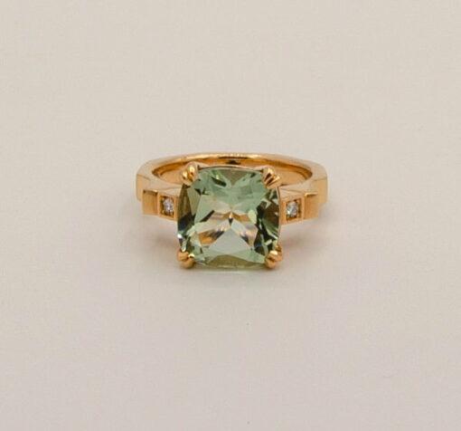 Green Amethyst Cushion Cut Ring By Soklich Front