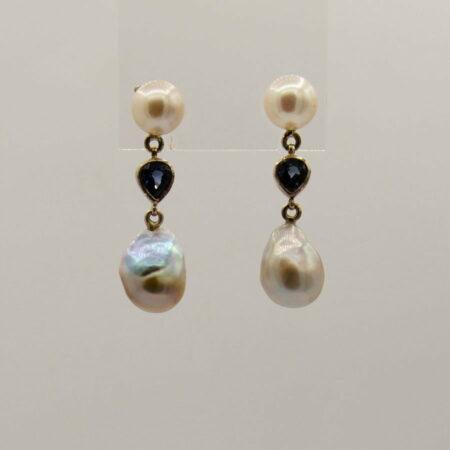 Jane Liddon Pearl And Iolite Drop Earings