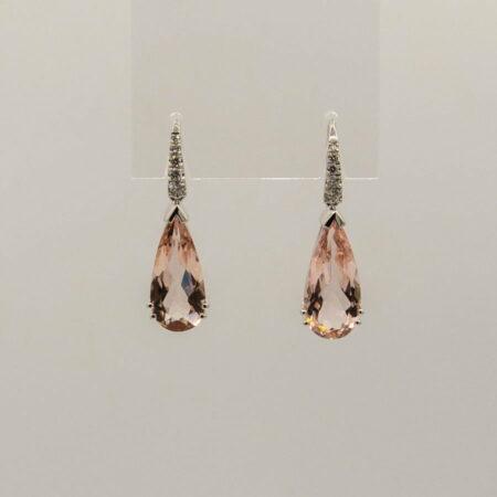 Morganite Pear Shape And Diamond Drop Earings Soklich