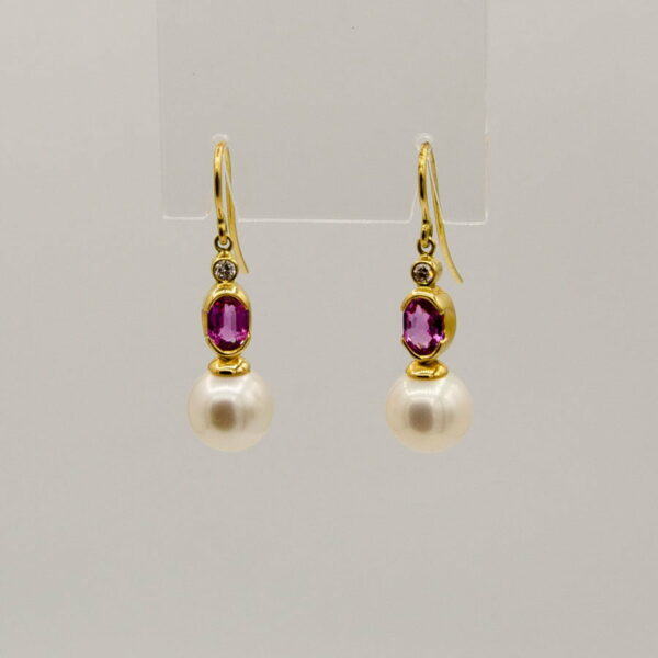 Pink Sapphire And Broome Pearl Earings By Soklich