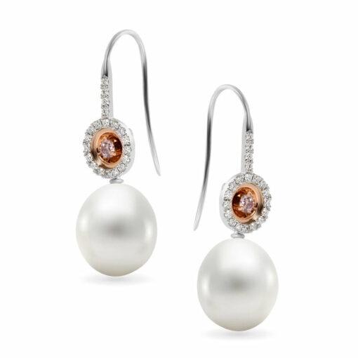 Edje022 Desert Rose Dome Pearl Argyle Pink Diamond Earings