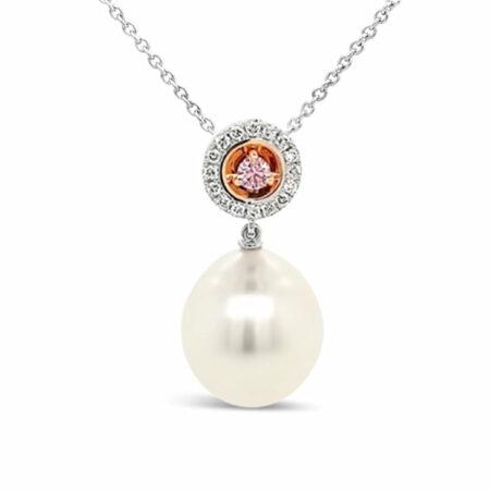 Edjr008025 Desert Rose Pearl Argyle Pink Diamond Pendant
