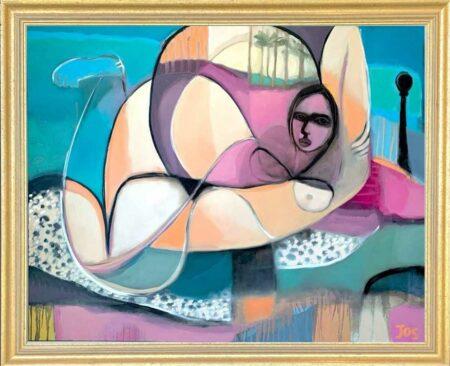 Jos Myers Cap D Ail My Love Original Painting Framed
