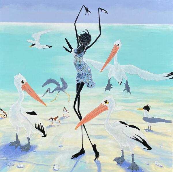 Judy Prosser Pelican Dancer Original Acrylic Painting