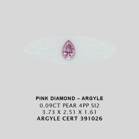 Pink1045 Cert 391026 0 090ct 4pp Pear Argyle Pink Diamond 1