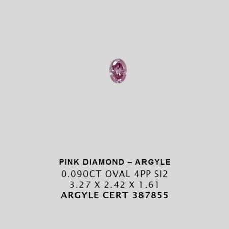 Pink1151 Cert 387855 0 090ct 4pp Oval Argyle Pink Diamond 1