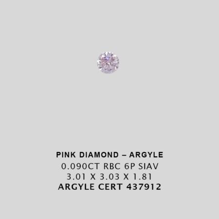 Pink1375 Cert 437912 0 090ct 6p Round Argyle Pink Diamond 1