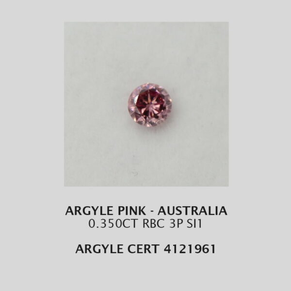 Pink609 Cert 121961 0 350Ct Rbc 3P Argyle Pink Diamond