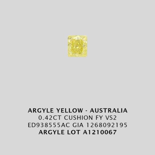 Yec666 0 420ct Cushion Cut Fy Vs2 Argyle Yellow Diamond Lot Au1210067