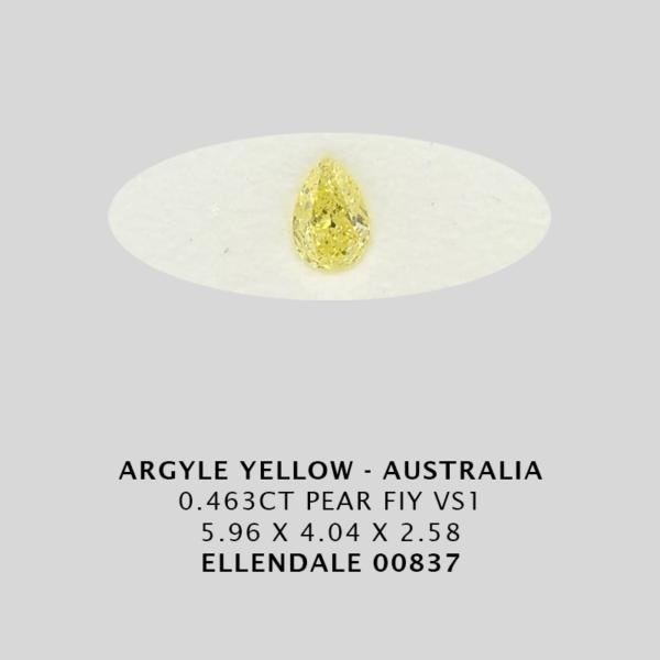 Yec837 0 463Ct Pear Fiy Argyle Yellow Diamond