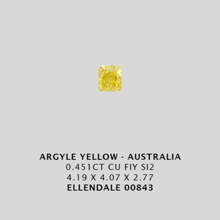 Yec843 0 451ct Cushion Cut Fiy Si2 Argyle Yellow Diamond