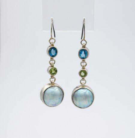 Jane Liddon Iolite Tourmaline Mabe Pearl Earings